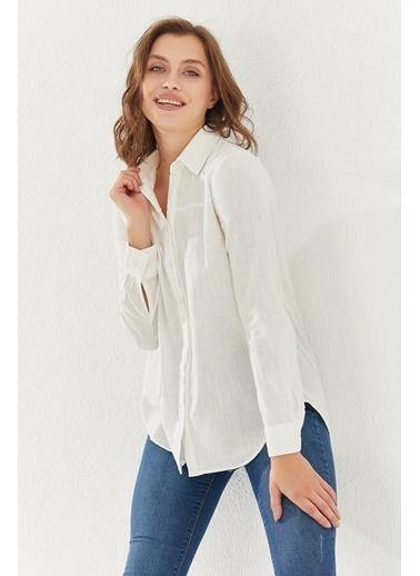 Reyon REYON Kadın Asimetrik Kesim Gömlek Beyaz Beyaz